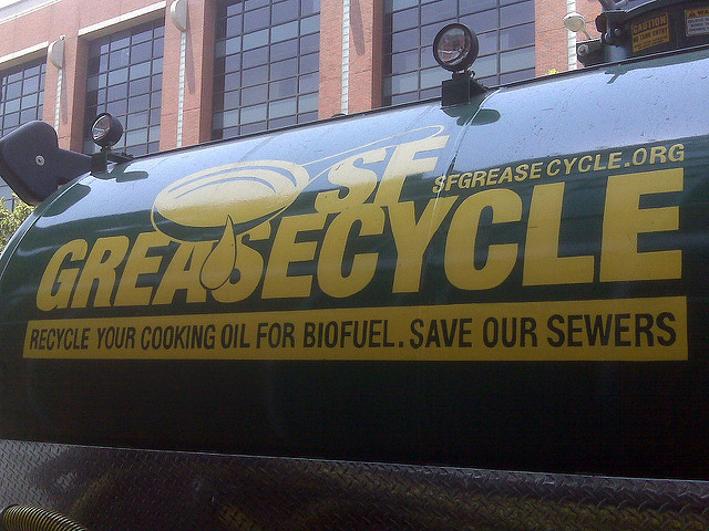 recycling truck collects used grease for biodiesel