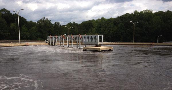Aeration tank at Asheboro wastewater treatment plant